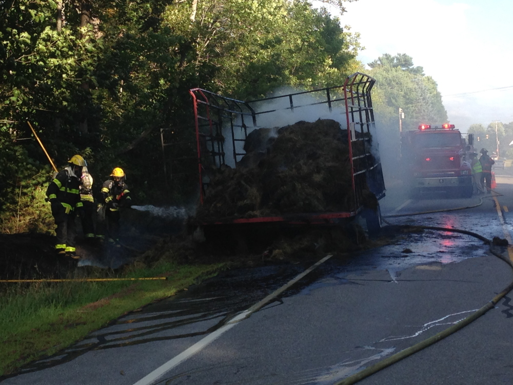 A trailer full of hay burned on Route 126 in West Gardiner Wednesday afternoon. Owner Herbert Moreshead speculated it was started by a cigarette from a passing motorist or sparks from his trailer.