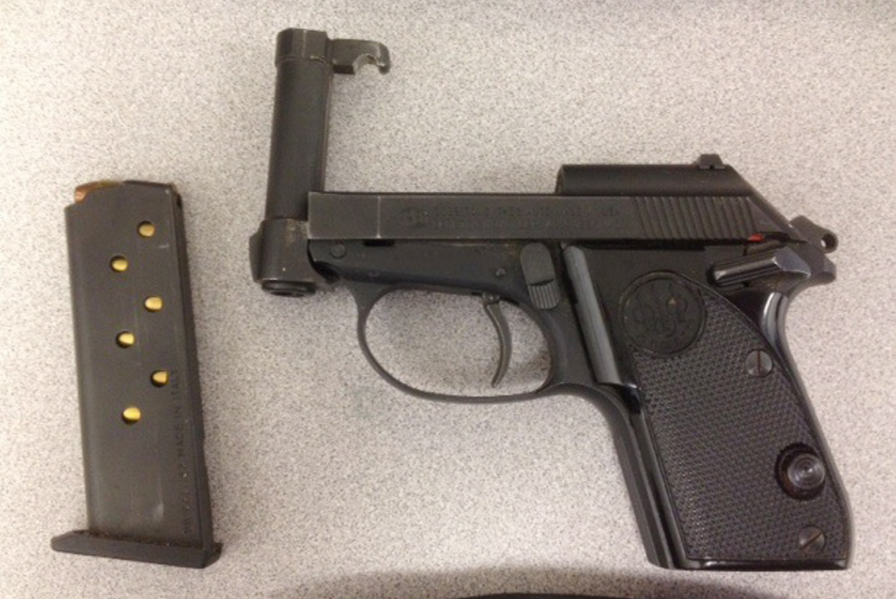 Screeners for the Transportation Security Administration found this .32-caliber Beretta handgun in a man's carry-on luggage Thursday at the Portland International Jetport. The man was booked to fly to Hartsfield-Jackson Atlanta International Airport.