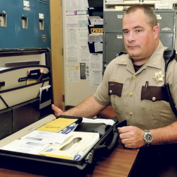 Somerset County Sheriff's Deputy Joseph Jackson, trained as a drug recognition expert, speaks on Thursday about the technology and tools used buy police to determine whether a subject is under the influence of alcoho