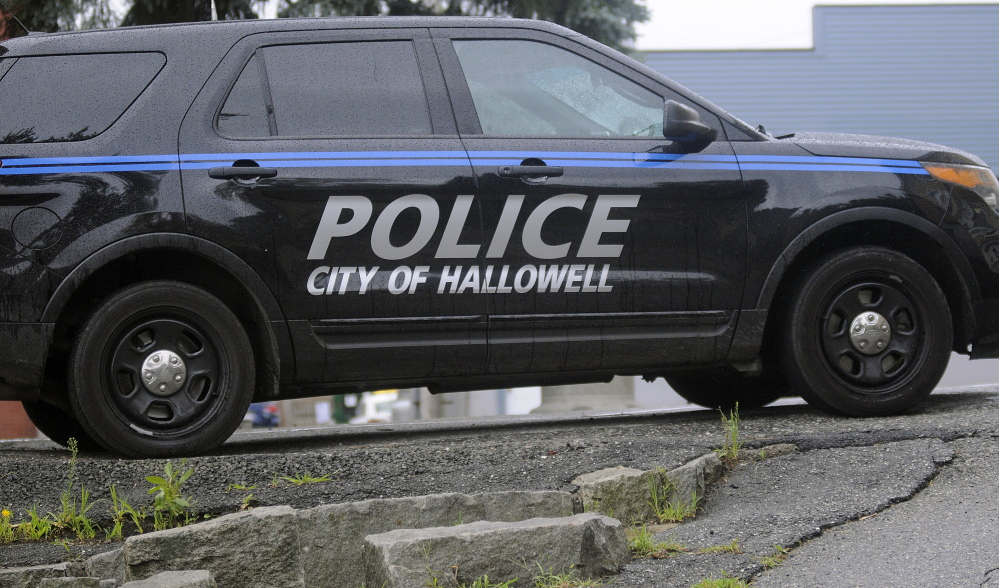 A Hallowell Police Department cruiser stands at the city's police station recenty.
