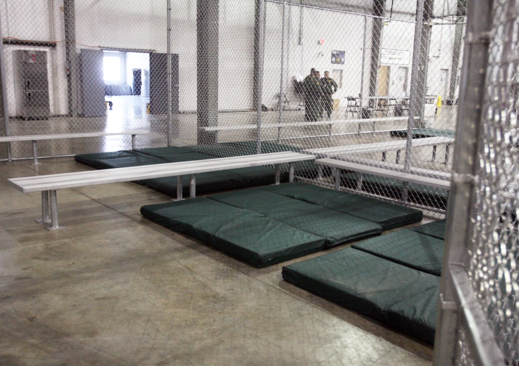 Sleeping mats line a holding cell at the new intake facility built to help alleviate overcrowding at the U.S. Customs and Border Protection's McAllen Station in McAllen, Texas. The facility is among those Maine Sen. Angus King is expected to visit on Friday. The Associated Press