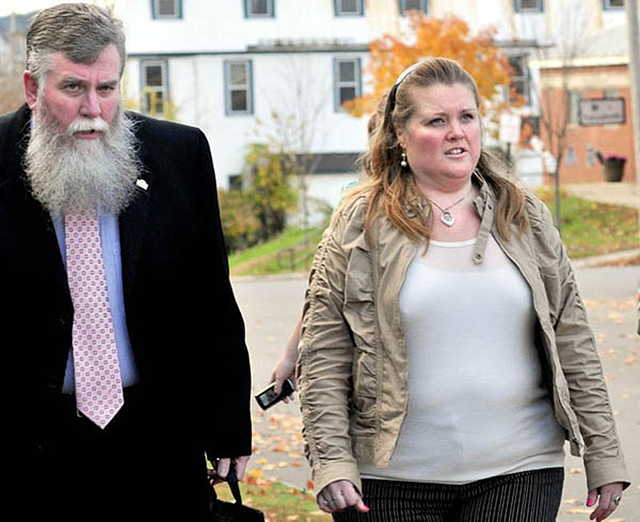 Amanda Huard and attorney John Youney enter Skowhegan District Court in May for a hearing for her daughter Kelli Murphy, 11, who was charged with manslaughter in the death of Brooklyn Foss-Greenaway.