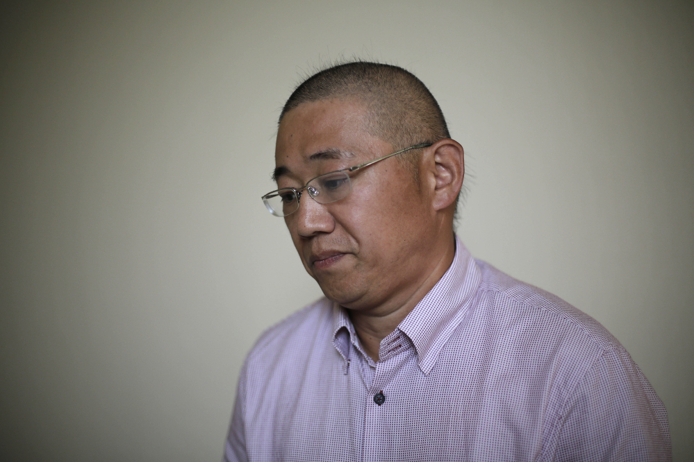Kenneth Bae, a American tour guide and missionary serving a 15-year sentence, detained in North Korea,  speaks to the Associated Press on Monday.
