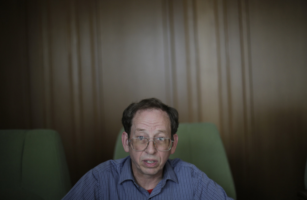 Jeffrey Fowle, an American detained in North Korea, speaks to the Associated Press on Monday.
