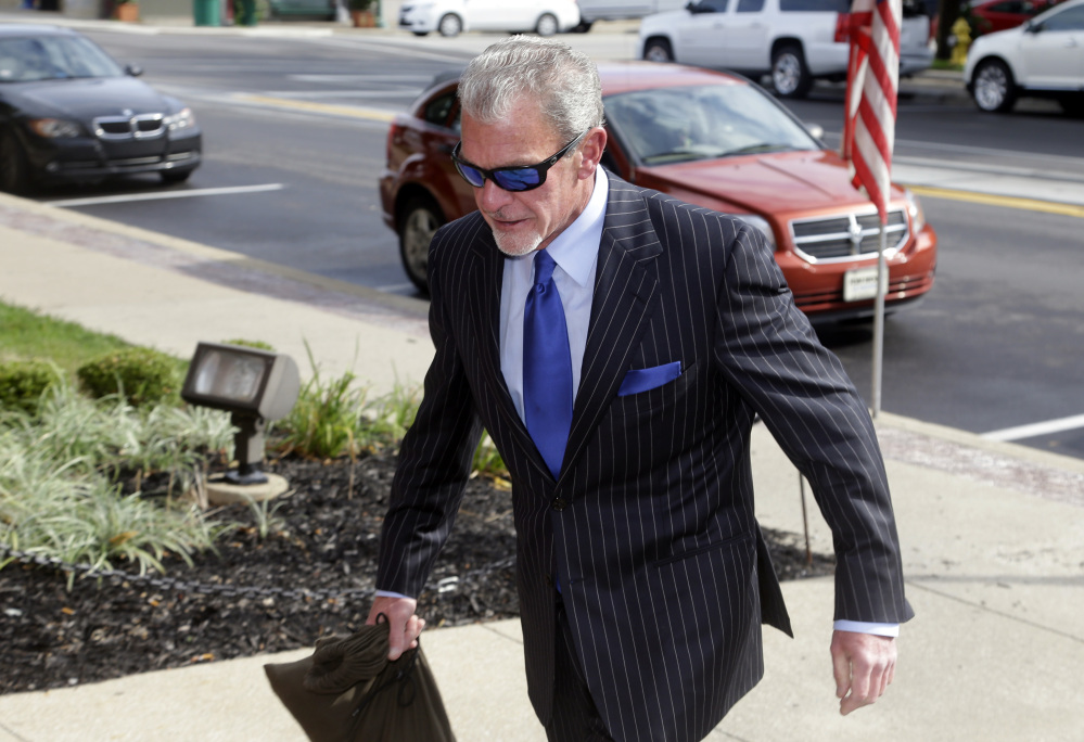 Indianapolis Colts owner Jim Irsay enters Hamilton County court in Noblesville, Ind., Tuesday.