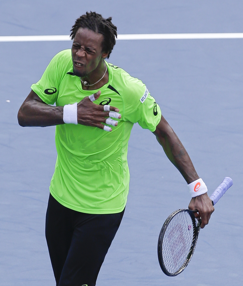 Gael Monfils reacts after defeating Grigor Dimitrov in the fourth round of the U.S. Open tennis tournament Tuesday in New York.