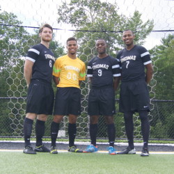 From left, Dakota Duplissie, Shaquille Trott, Jacob Sirois and Marcus Johnson lead the Thomas College men's soccer team in to the 2014 season.