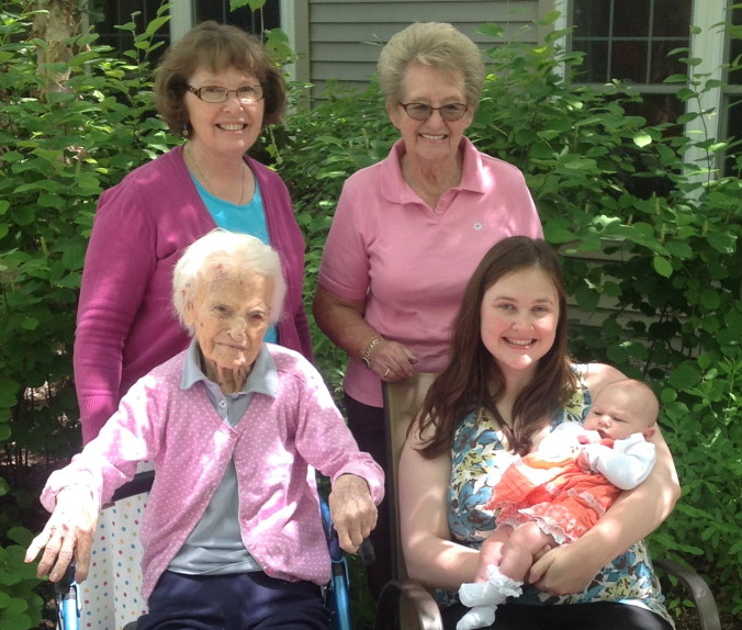 Five generations of daughters were photographed earlier this summer at Oak Grove Nursing Home, in Waterville. In front, from left, are Bertha Nielsen Chagnon, 106, of Clinton/Waterville; Grace Carter Shapiro, 28, of West Baldwin; and Madeleine MacKenzie Shapiro, two months, of West Baldwin. In back, from left, are Margaret Julia Carter, 61, of Ellsworth; and Norma Nielsen Julia, 84, of Fairfield.