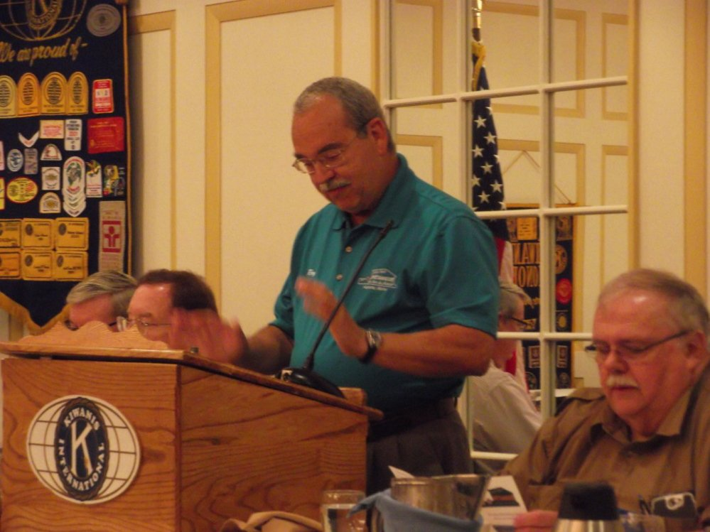 Ray Fecteau of Mill Park Petanque talks about the game of petanque at a recent meeting of the Augusta Kiwanis Club, where he also shared an informational video about the sport. The low-cost game utilizes metal balls which are thrown as close as possible to a smaller ball.