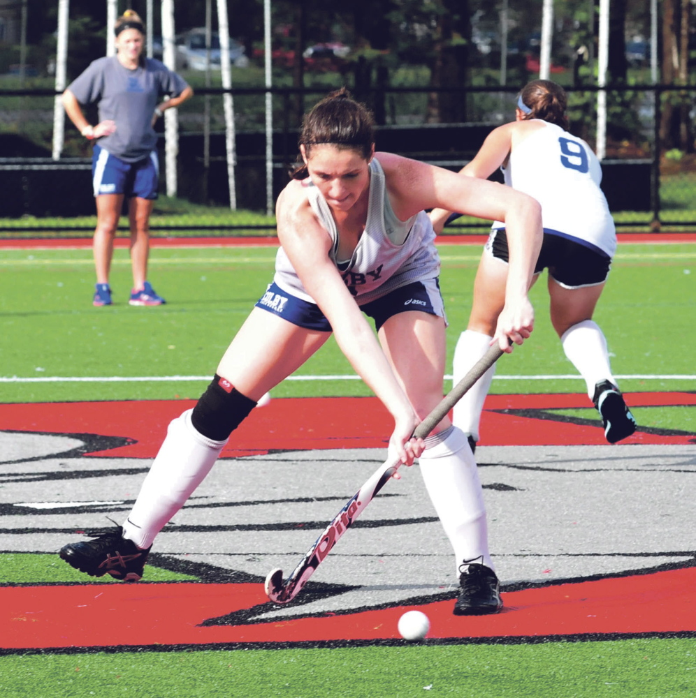 Colby College field hockey player Caroline Ferguson practices before a game against Thomas College on Wednesday in Waterville. The Mules aim to build on a 9-6 record from a year ago and finish as one the NESCAC's final four teams, possibly giving the team an NCAA playoff berth.