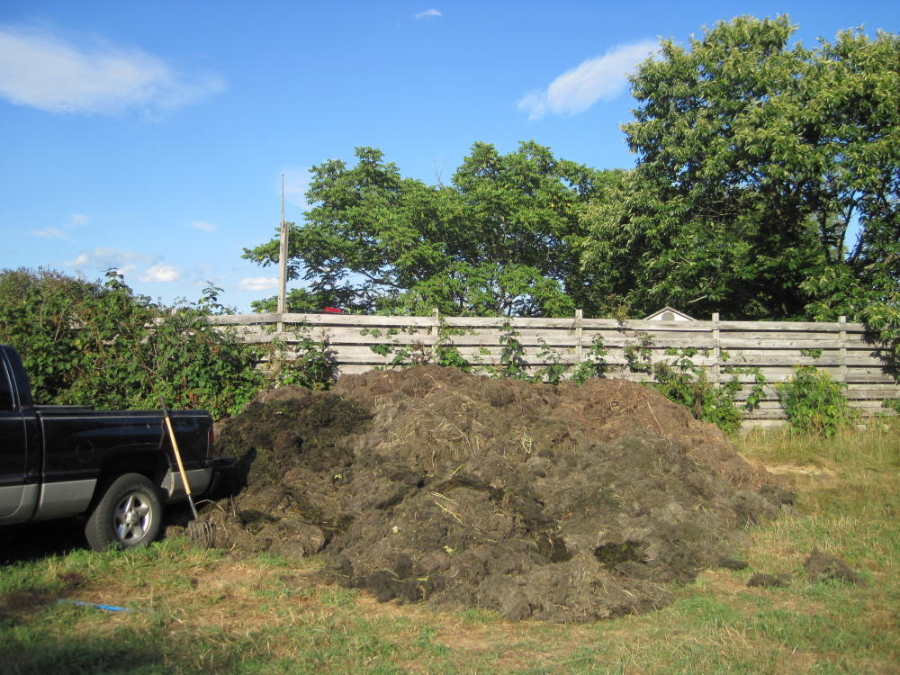A compost pile of milfoil is seen in Belgrade. The Belgrade Regional Conservation Alliance has been composting thousands of gallons of milfoil for two years in an effort to dispose of the plants in a controlled environment. The Department of Environmental Protection said the composters should have a permit and is considering working with Oakland to research whether composting milfoil is a safe method of disposal that protects bodies of water.