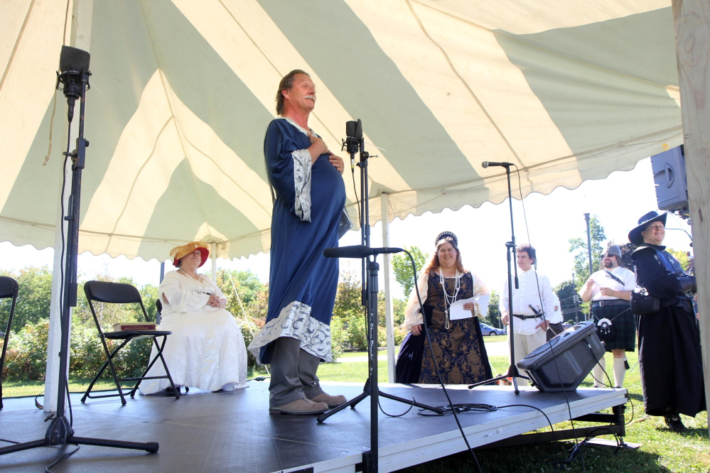 "Joe Rowden, of the Recycled Shakespeare Company, plays Theseus and recites lines from ""A Midsummer Night's Dream"" at the Festival at the Falls in Waterville on Sunday. The festival, formerly known as the Franco-American Family Festival, was reinvented this year to celebrate a wider variety of Waterville's cultural heritage."