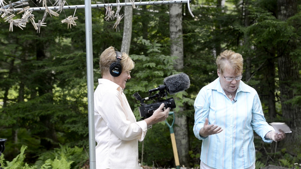"""Miss"" Dianne Senechal (right) and ""Grammie"" Donna Sawyer record their community TV show ""Garden Thyme"" on Wednesday, August 6, 2014."