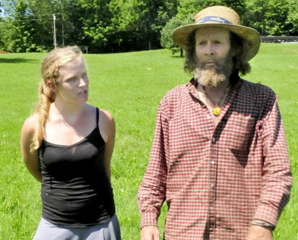 Harry Brown and his daughter, Elizabeth Smedberg, discuss their opposition to a proposed cell tower next to their family farm in Starks in 2013. Brown and his wife, Cindy, have appealed a Superior Court decision upholding the town's decision to allow construction of the cell tower.