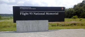 A sign near the beginning of the long and winding road leading to the memorial.