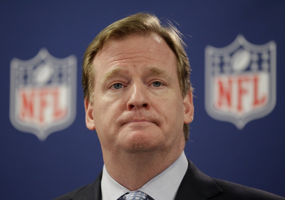 In this May 2012, file photo, NFL Commissioner Roger Goodell pauses during a new conference in Atlanta. A law enforcement official says he sent a video of Ray Rice punching his then-fiancee to an NFL employee three months ago, while league executives have insisted they didn't see the violent images until they were published this week.