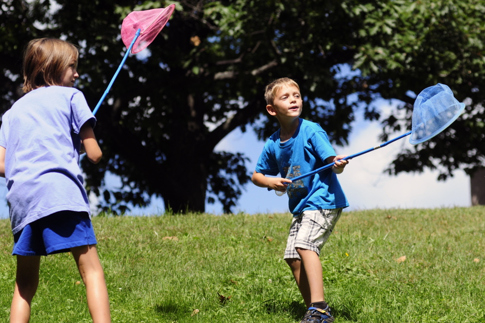 Abby Harrison, 9, left, and Archer Harrison, 5, both of Hope, chase a butterfly during Bug Maine-ia at the Maine State Museum on Wednesday in Augusta.