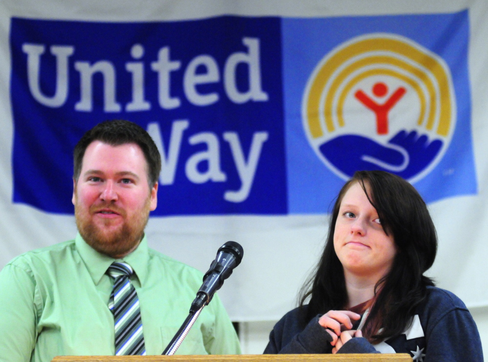 Executive Director Darren Joyce and club member Lilly Perkins talk about the Augusta Boys and Girls Club during the United Way of Kennbec Valley annual campaign kickoff event on Thursday at the Augusta Civic Center.