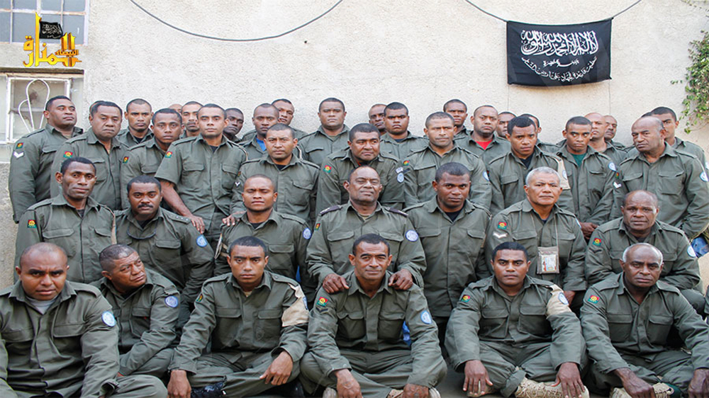 This image from the Hanin Network, a militant website, shows Fijian U.N. peacekeepers who were seized by the Nusra Front on Aug. 28 in the Golan Heights.