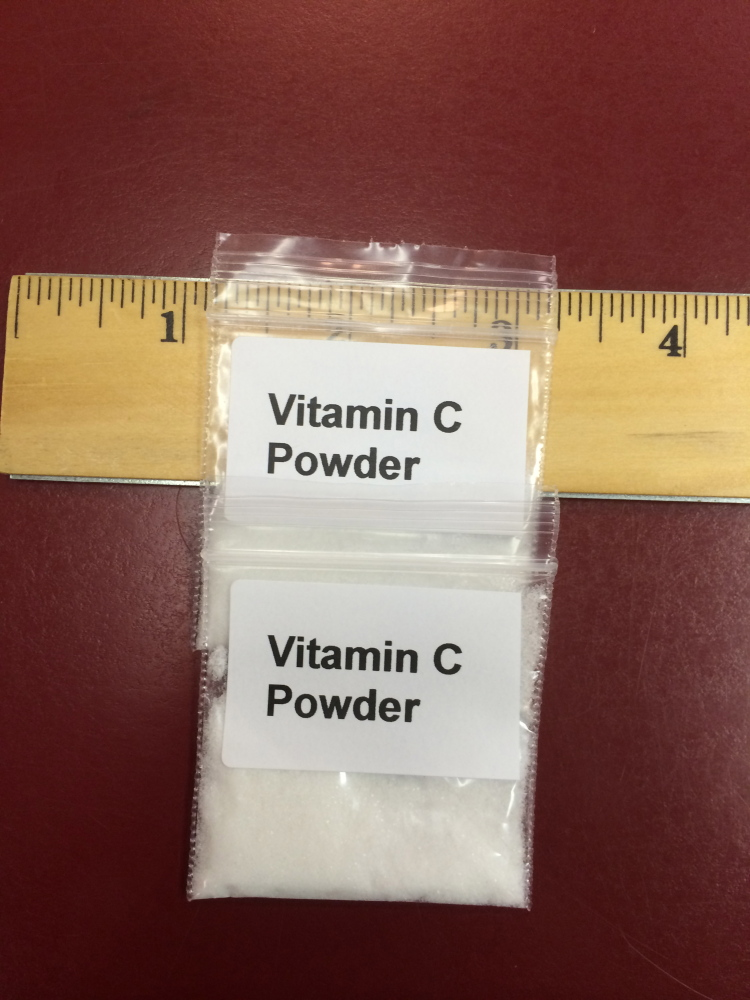 The Portland Needle Exchange program has changed the packaging for the vitamin C given to intravenous crack cocaine users, shown Thursday, which is less harmful than other substances typically used. The program no longer includes directions on how to use the vitamin C.