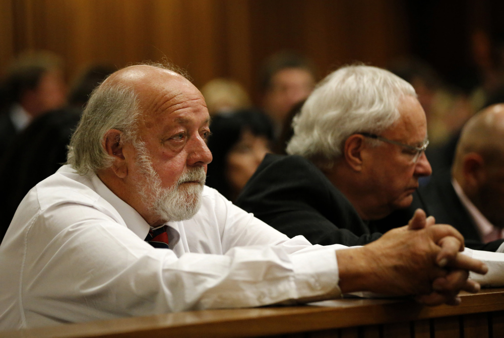 Father of the late Reeva Steenkamp, Barry Steenkamp, sits in court at the trial of Oscar Pistorius in Pretoria, South Africa, Friday.