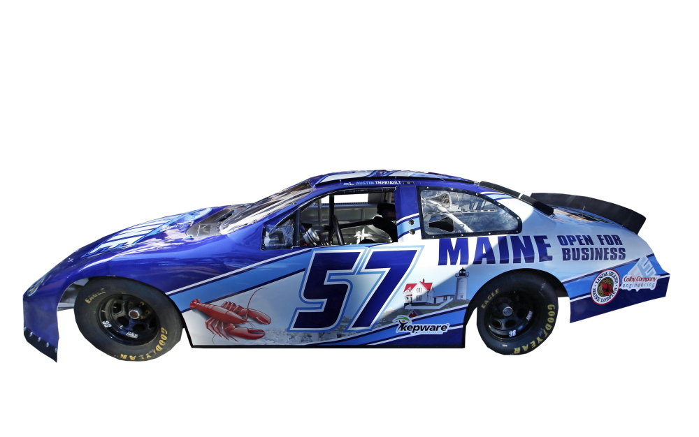 "A race car being billed as the ""Maine Open for Business Chevrolet,"" is introduced tot he public, Friday, Sept. 12, 2014, in Portland, Maine. The marketing slogan was introduced by Maine Gov. Paul LePage. The high-speed billboard for Maine was partially funded by taxpayers. (AP Photo/Robert F. Bukaty)"