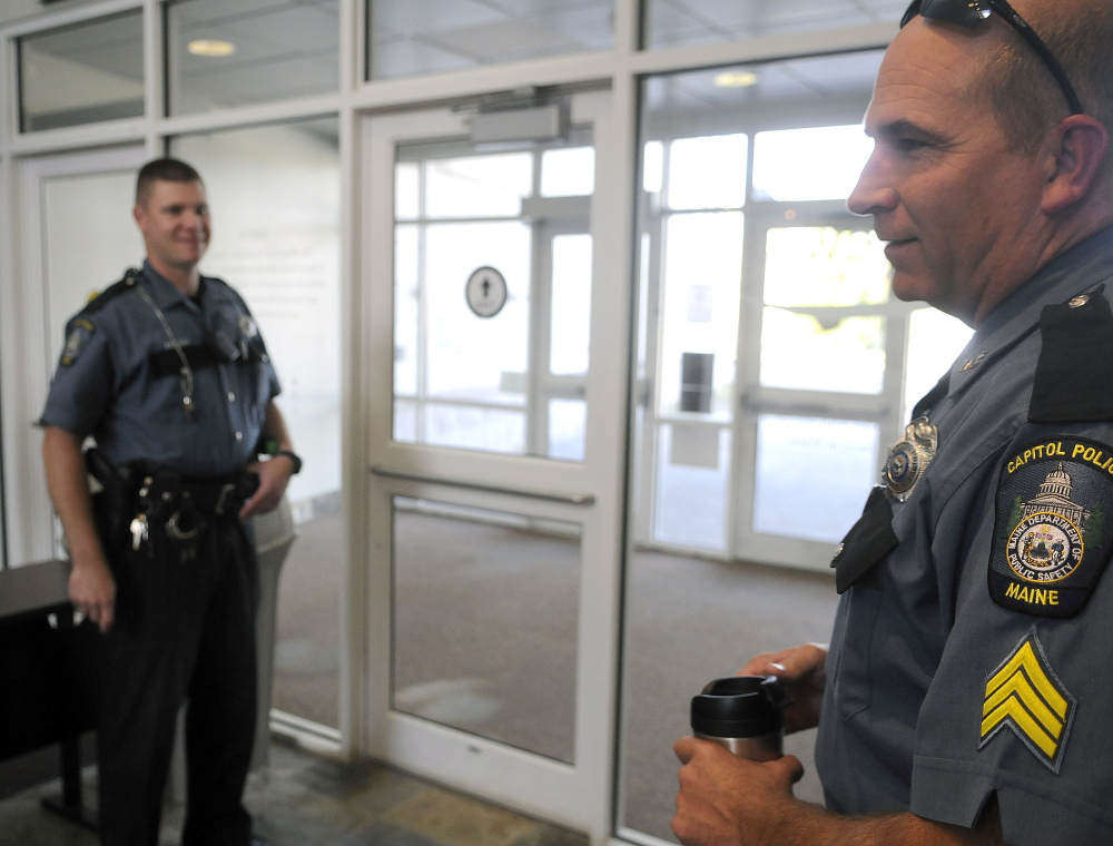 Capitol Police officers change shifts last week at Riverview Psychiatric Center in Augusta.