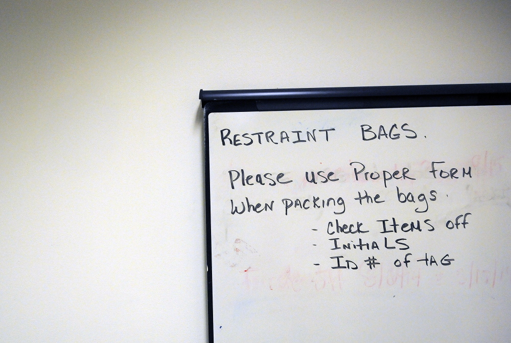 A note to staff in the Lower Saco forensic unit on Wednesday at the Riverview Psychiatric Center in Augusta.