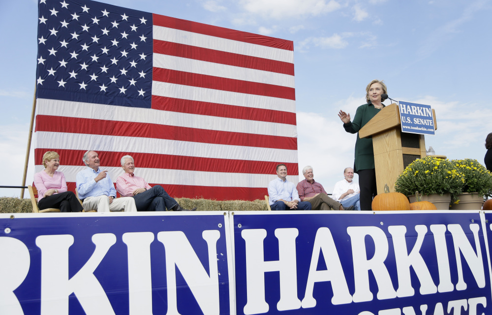 Former Secretary of State Hillary Rodham Clinton speaks during U.S. Sen. Tom Harkin's annual fundraising Steak Fry, Sunday in Indianola, Iowa.