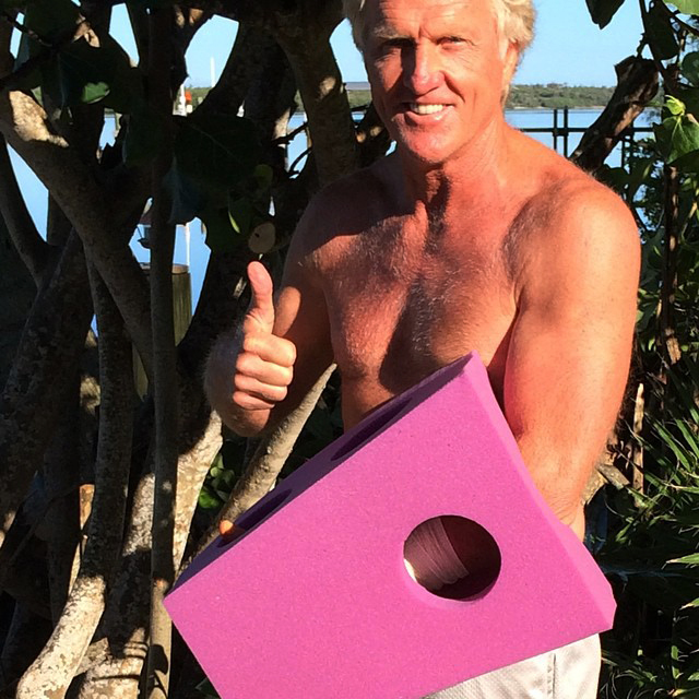 This photo provided by Greg Norman and posted on Instagram on Sunday, shows Norman giving the thumbs up with his left hand  protected by a purple foam after a chainsaw accident.