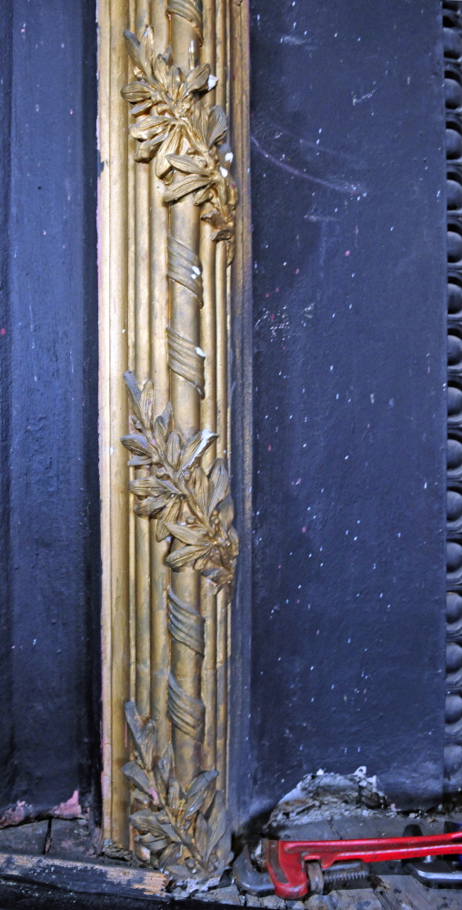 The gold trim around the proscenium arch in the third floor theater space at Gardiner's Johnson Hall.