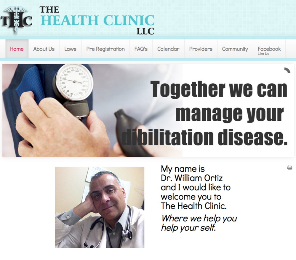 A screen shot of thehealthclinic.org website contains a photo of Dr. William Ortiz and the company's logo – THC – which is also short for the active ingredient in marijuana.