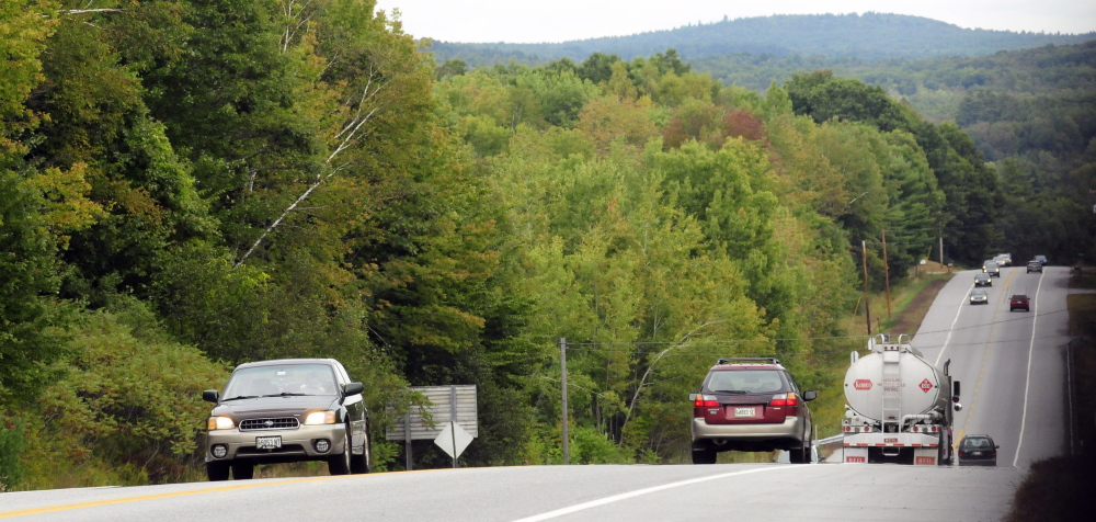Vehicles drive U.S. Route 202 on Tuesday in Winthrop along a section of highway where the Maine Department of Transportation plans to add rumble strips in hopes of reducing the number of serious accidents.