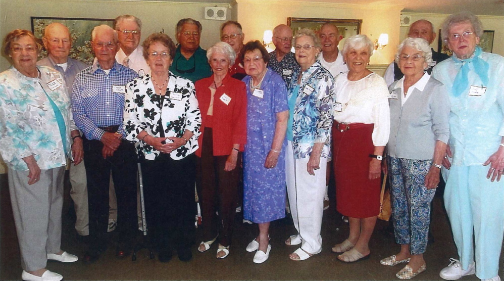 Cony High School, class of 1944, recently held its 70th reunion at the Augusta Country Club in Manchester. From left are Paulene Knight Liscomb, Dick Jordan, Frank Smith, Bob Butler, Theresa Robichaud Bennett, Dick Butler, Edwidge LaPointe Fossett, Luther Perkins, Lois Webber-Siegler, David Flood, Pauline Henderson Mansir, Ted Weaver, Winnifred Sobus Gingrow, Polly Cloutier Eaton, Horace Rodrigue, and Betty Mills Hanley.