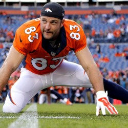 In this file photo, Denver Broncos wide receiver Wes Welker (83) stretches prior to an NFL preseason football game against the Houston Texans in Denver.