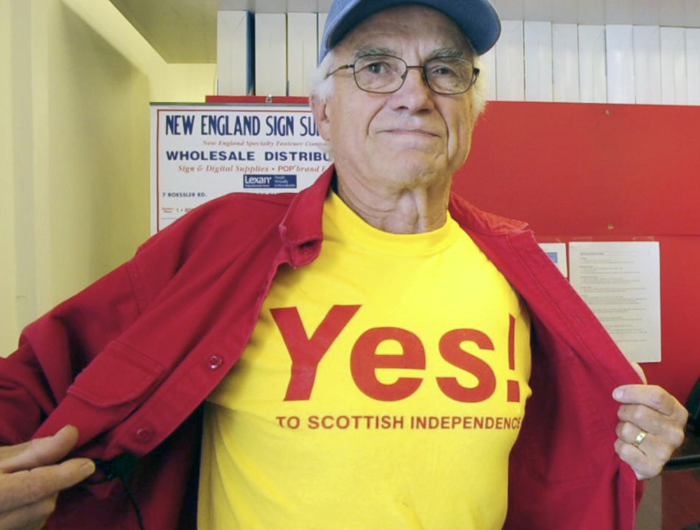 Bill McKeen says he supports Scottish independence during an interview on Tuesday at Minuteman Signs in Augusta, but doesn't know how he would vote unless he actually lived there.