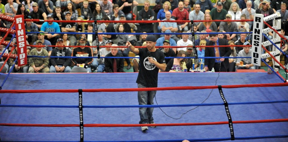 "Staff file photo by Michael G. Seamans Brandon ""The Cannon"" Berry talks to the sold-out crowd before at Carabec High School on April 26. Berry returned to the ring Thursday night in Manchester, N.H., where he improved to 7-0 after scoring a technical knockout decision over Theo Desjardin of North Attleboro, Mass."