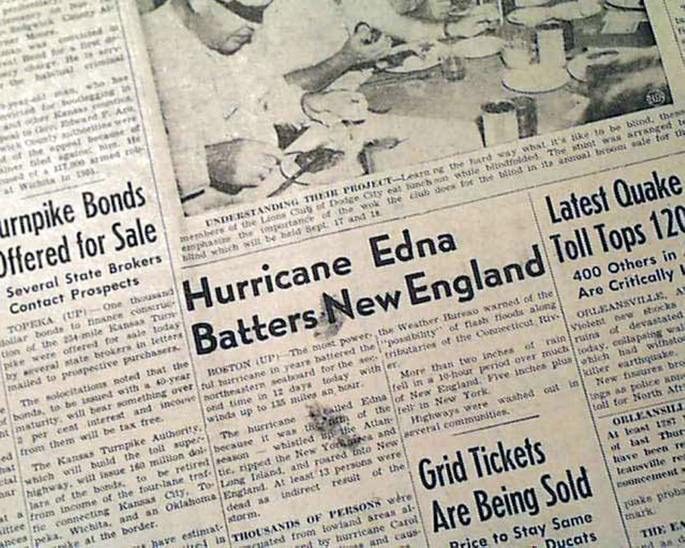 The Sept. 11, 1954, front page of The Russell (Kan.) Daily News carried an article about Hurricane Edna. According to Wikipedia, eight people drowned in Maine. In Unity, a family of 10 was trapped on top of their car, cut off by raging flood waters. A human chain of rescuers managed to save nine of them.