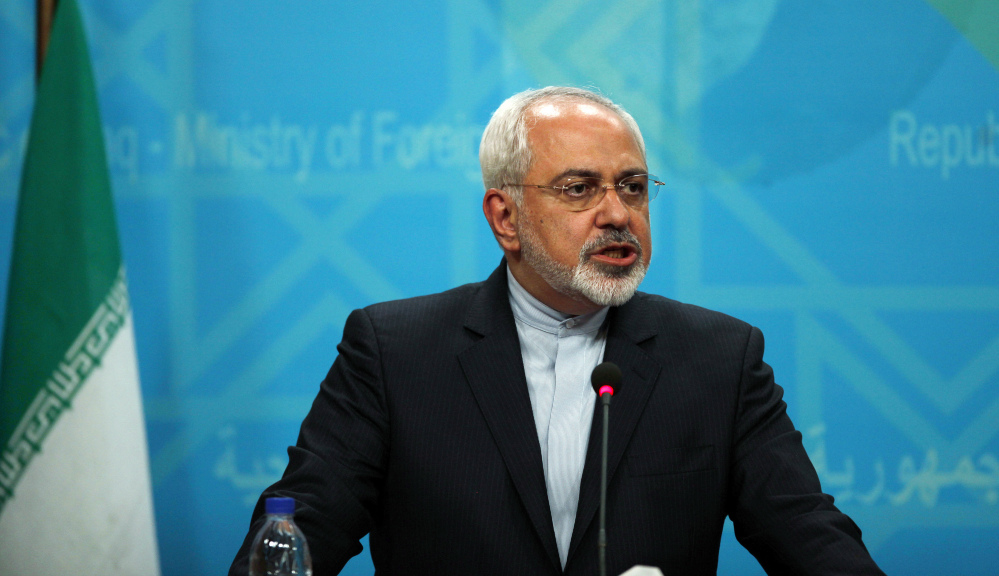 In this Sunday, Aug. 24, 2014 file photo, Iranian Foreign Minister Mohammad Javad Zarif speaks during a joint news conference with his Iraqi counterpart in Baghdad.