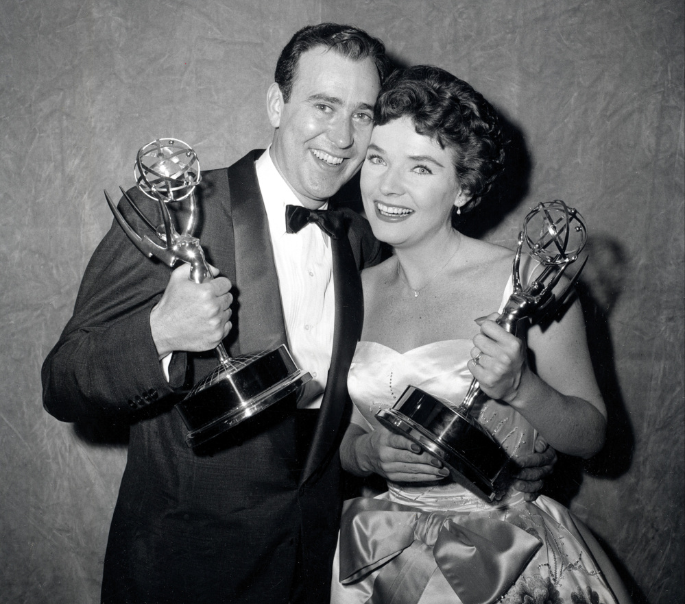 "Writer Carl Reiner and actress Polly Bergen pose with their statuettes at the Emmy Awards presentations in New York in 1958. Reiner won for best continuing supporting performance by an actor in a dramatic or comedy series for ""Caesar's Hour.""  Bergen won best single performance by an actress in a lead or support role for ""Playhouse 90:  Helen Morgan Story."" Bergen, an  Emmy-winning actress and singer, who in a long career played the terrorized wife in the original ""Cape Fear"" and the first woman president in ""Kisses for My President,"" died Saturday."