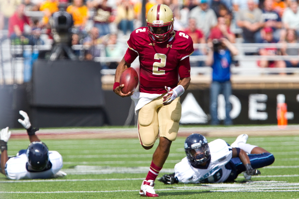 The sight Maine dreaded: Boston College quarterback Tyler Murphy sprinting down the field and a Black Bear defender – defensive back Najee Goode – with that ground-level view.