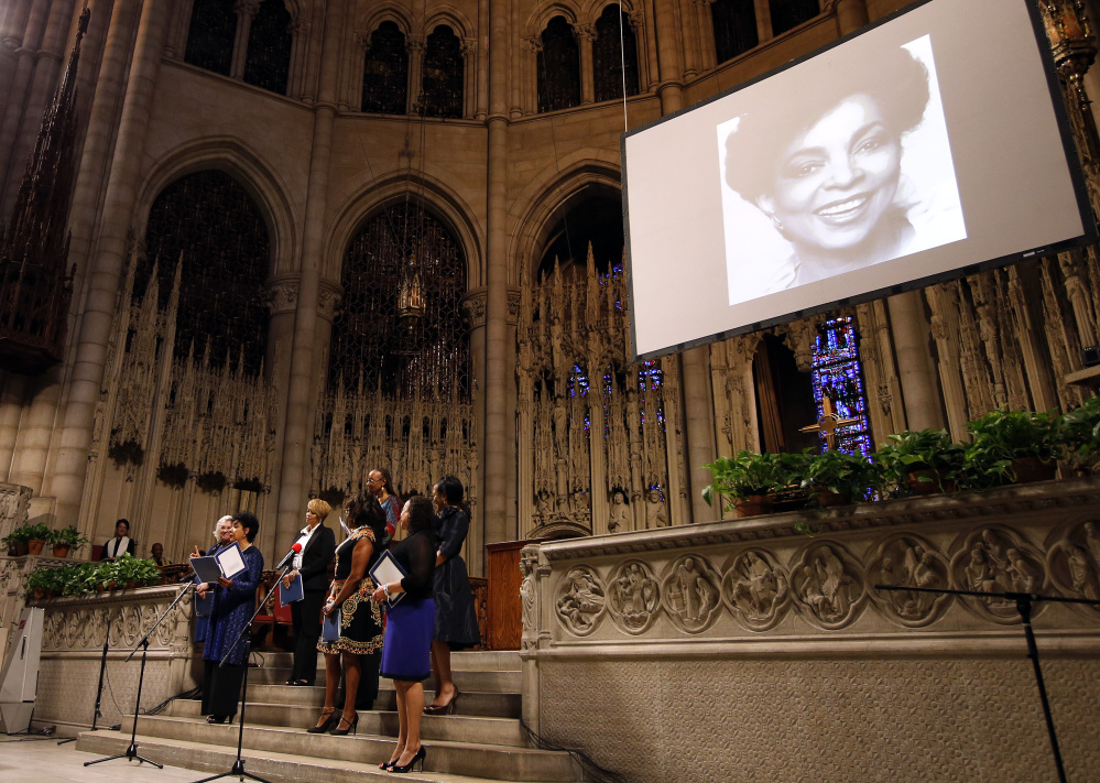 A medley of poetry and prose written by Ruby Dee is read during a memorial service for the actress at The Riverside Church, Saturday, in New York.