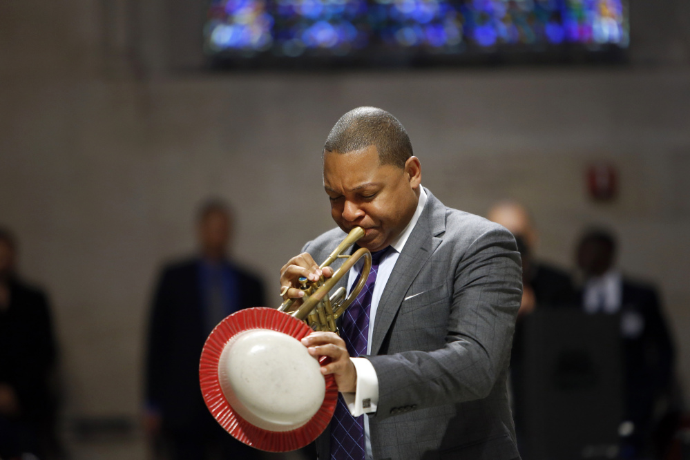 Musician Wynton Marsalis performs during a memorial service for actress Ruby Dee at The Riverside Church, Saturday, in New York.