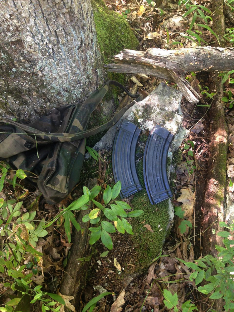 An undated photo provided by the Pennsylvania State Police shows what they say are magazines for an AK-47-style assault rifle that they have recovered from the woods in the manhunt for Eric Frein, who allegedly opened fire in a deadly ambush at a Pennsylvania state police barracks on Sept. 12.