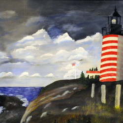 A painting of West Quoddy Head lighthouse by Ernest DeRaps of Richmond is on display in the studio of his home along with 64 other lighthouse paintings.