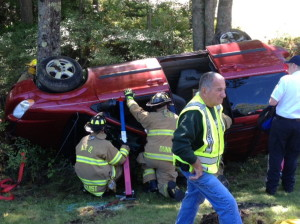 Two passengers are extricated from a van Monday on Route 17 in Windsor. The van rolled over into a ditch in the eastbound lane. The Augusta Fire Department and the Windsor Fire Department extricated two women from the van.