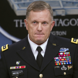 """Army Lt. Gen. William Mayville Jr., the Pentagon's operations chief, pauses while speaking about the operations in Syria on Tuesday during a news conference at the Pentagon. Mayville said the Khorasan Group was nearing """"the execution phase of an attack either in Europe or the homeland."""""""