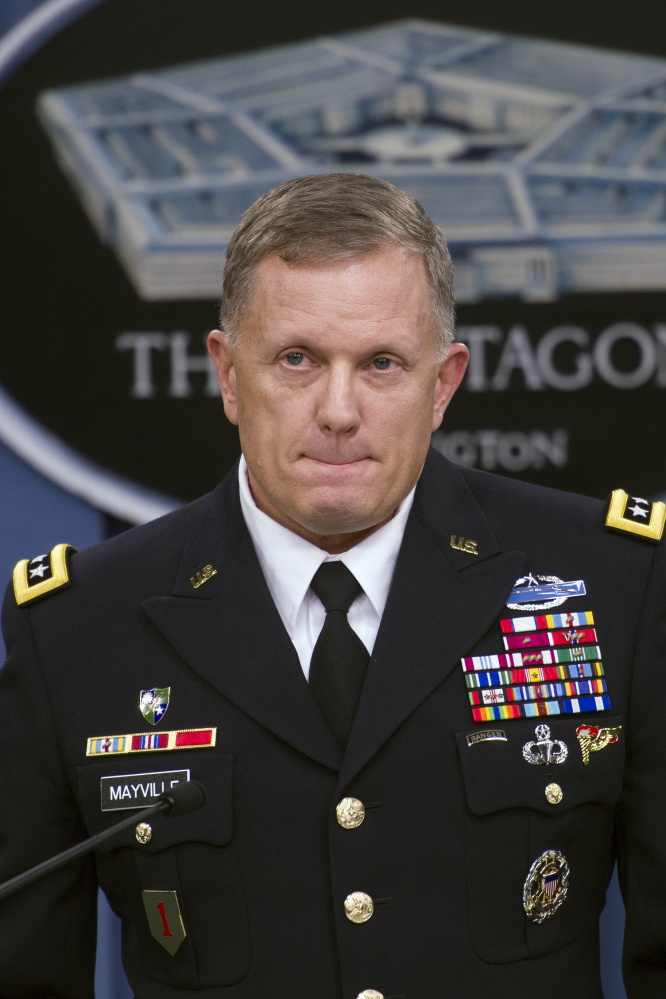 "Army Lt. Gen. William Mayville Jr., the Pentagon's operations chief, pauses while speaking about the operations in Syria on Tuesday during a news conference at the Pentagon. Mayville said the Khorasan Group was nearing ""the execution phase of an attack either in Europe or the homeland."""