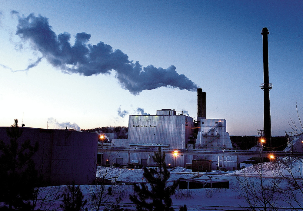 Only one of Great Northern's three smokestacks was being used in 2003 in East Millinocket. During its peak in the 1960s and 1970s, Great Northern employed 4,000 people at mills in Millinocket and East Millinocket, making it the heart of Maine's papermaking industry.