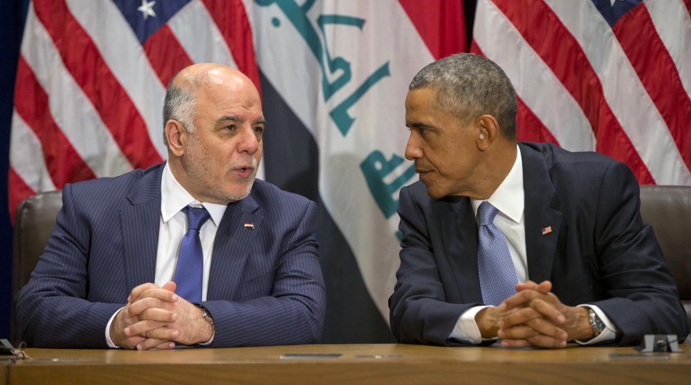 President Barack Obama meets with Iraqi Prime Minister Haider al-Abadi at the United Nations headquarters on Wednesday.